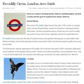 Content Writing: Piccadilly Circus, London Area Guide